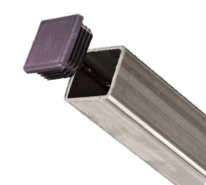 Plastic Square Plugs on Steel Tube